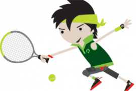 Mini green tennis player